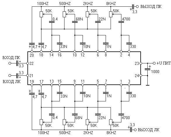 Или зайти в. эквалайзер на микросхеме BA3824LS.  РадиоКОТ Схемы Аудио Фильтры, эквалайзеры.
