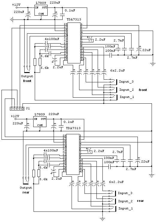 Цифровой 4-х канальный регулятор для усилителя на TDA7313.