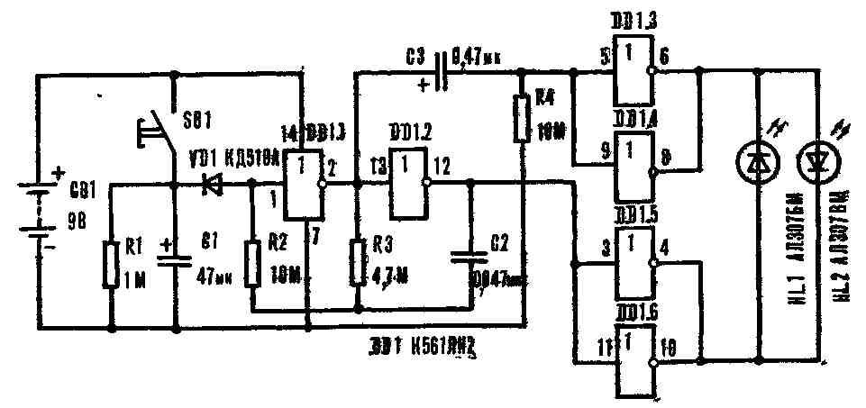 Эта простая схема на двух транзисторах, позволяет создать LED мигалку, используя для питания всего одну...