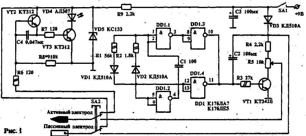 Чтобы облепить поиск активных точек, совместно со стимулятором я использовал электронный омметр на светодиоде.