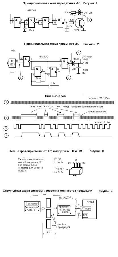 Схемы приемника...  Функцию интегрирования успешно...  Т.е импульсы идут - барьер есть, постоянный сигнал...