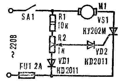 Схему простейшего тиристорного