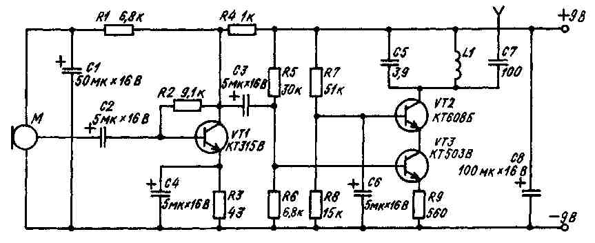 """Схема радиомикрофона для использования в вещательном УКВ диапазоне 88-108 МГц, опубликованная в  """"РА """" 8-10, 1993, с.21..."""